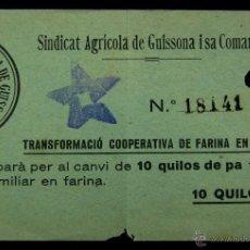Monedas locales - VALE 10 QUILOS DE PA (KILOS PAN).SINDICAT AGRICOLA DE GUISSONA I SA COMARCA. COOPERATIVA FARINA Y PA - 52909756