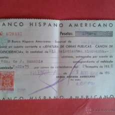 Monedas locales: TALÓN DEL BANCO HISPANO AMERICANO. CANÓN DE COINCIDENCIA. 1958.. Lote 52939333
