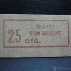 Monedas locales: 25 CENTIMOS UNION ANGLESENSE EBC VALE DE CARTON. Lote 53141664