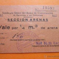 Monedas locales: SINDICATO CNT AIT SECCION ARENAS VALE 1/4 M3 SELLO FERROCARRIL METROPOLITANO BARCELONA TRANSVERSAL. Lote 53198701