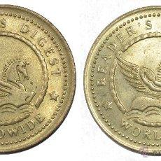 Monedas locales: MUY BONITA FICHA TOKEN JETON **READERS DIGEST** WORLDWIDE. DORADA. DIÁMETRO 30 MM. Lote 53623670