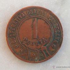 Monedas locales: FICHA COOPERATIVA OBRERA MANRESANA 1 PESETA. Lote 54149208