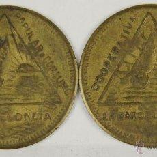 Monedas locales: MO-090. 2 MONEDAS EN LATON. COOPERATIVA POPULAR DE CONSUMO LA BARCELONETA. 10 CTMS.. Lote 50494037
