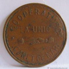 Monedas locales: MONEDA COOPERATIVA LA UNION CANET DE MAR. 1951. 3,50 CM. Lote 54848905