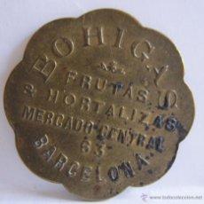 Monedas locales: MONEDA EMPRESA.BOHIGAS. FRUTAS & HORTALIZAS. MERCADO CENTRAL, 63. BARCELONA. 3 CM. Lote 54849107