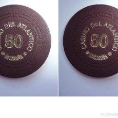 Monedas locales: FICHA TOKEN JETÓN **CASINO DEL ATLÁNTICO CORUÑA***. VALOR 50 PESETAS.. Lote 55227669