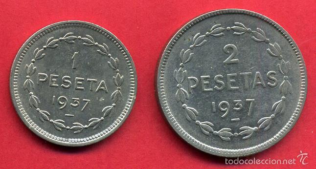 Monedas locales: MONEDAS LOCALES GUERRA CIVIL, GOBIERNO EUZKADI 1937, 1 PESETA Y 2 PESETAS , L4 - Foto 2 - 55684712
