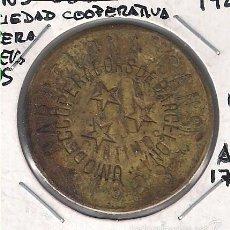 Monedas locales: FICHA DE LA SOCIEDAD COOPERATIVA OBRERA DE 10 CÉNTIMOS DE 1928 BARCELONA. MODELO DEL SIGLO XX. C70.. Lote 56232225