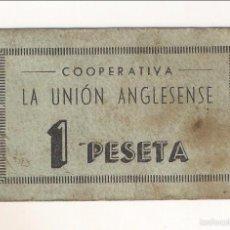 Monedas locales: PESETA DE COOPERATIVA LA UNIÓN ANGLESENSE DE ANGLÉS. ESCASO. MBC. CATÁLOGO ANTONI LÓPEZ-2207. C267.. Lote 56258107
