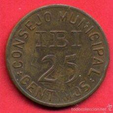Monedas locales: MONEDA LOCAL, CONSEJO MUNICIPAL IBI , 25 CENTIMOS 1937 , 2 SOBRE E , ALICANTE , ORIGINAL , ALJ27. Lote 107644611
