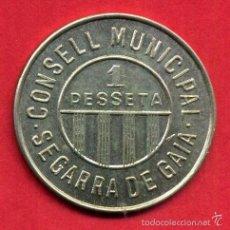 Monedas locales: MONEDA LOCAL, 1 PESETA SEGARRA DE GAIA , TARRAGONA , ORIGINAL , ALJ30. Lote 56799084