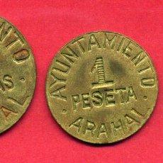 Monedas locales: MONEDA LOCAL, SERIE DE ARAHAL , 50 CENTIMOS , 1 PESETA Y 2 PESETAS , ORIGINAL , ALJ31. Lote 56799358