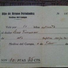 Monedas locales - Vale por 50 Kilos de Antracita (Carbón) al Capellán Monjas Carmelitas. Medina del Campo. 1941. - 57048745