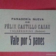 Monedas locales: VALE POR 5 PANES. FÉLIX CASTILLO CASAU. TALARRUBIAS. BADAJOZ. MBC+.. Lote 57736987