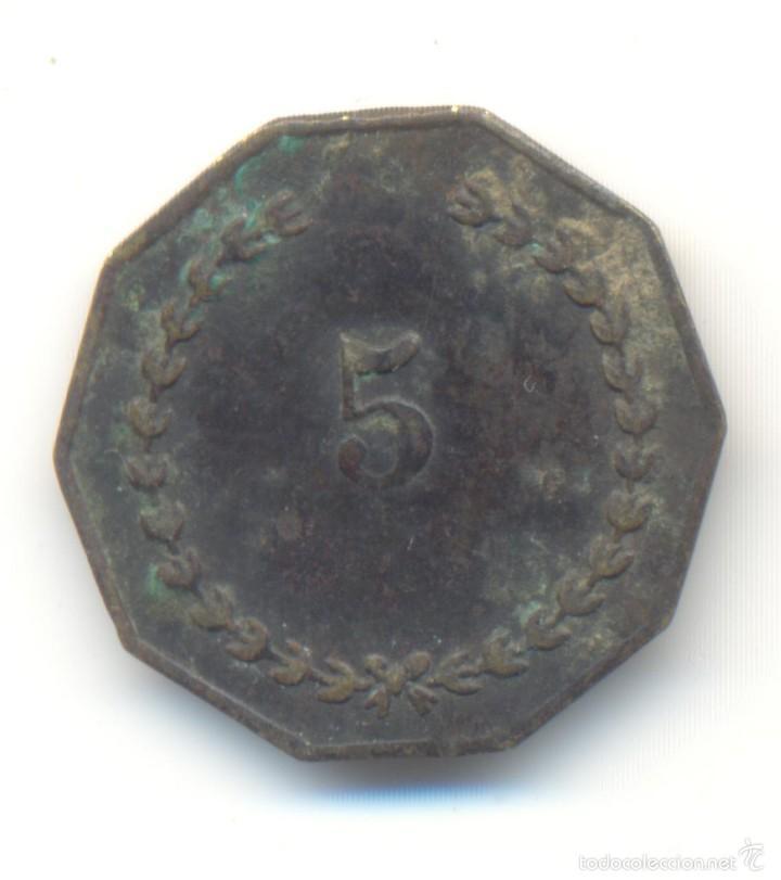 Monedas locales: ANTIGUA FICHA OCTOGONAL JUEGO CASINO VALOR: 5 HAY CUATRO CARTAS POKER CON CORAZÓN PICA TREBOL ROMBO - Foto 2 - 58496577