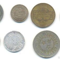 Monedas locales: T- OCHO FICHAS DIVERSAS. MANRESA BARCELONETA BARCELONA SANS EN LOTE. Lote 58550949