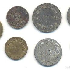Monedas locales: T- SIETE FICHAS DIVERSAS PALAMOS MERCADO BARCELONA TIBIDABO IGUALADA. Lote 58551033