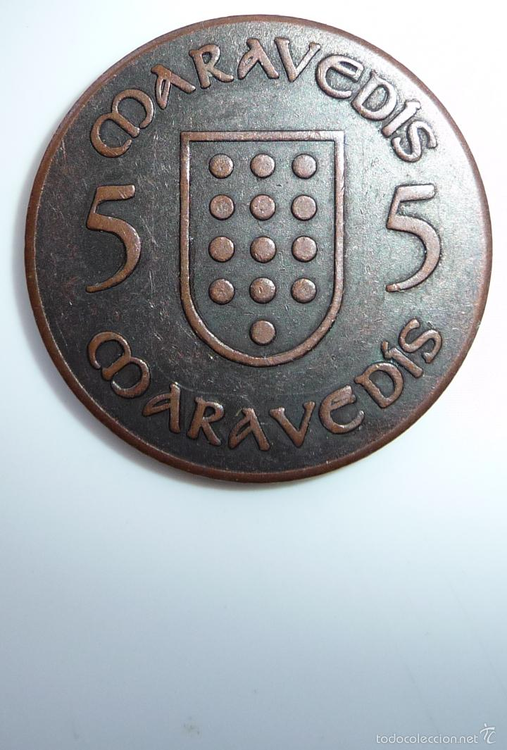Monedas locales: FICHA, TOKEN, JETÓN MONEDA DE 5 MARAVEDÍS UTILIZADA EN **FESTA DA ISTORIA** RIBADAVIA-OURENSE - Foto 3 - 97344866