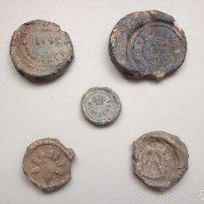 Monedas locales: CINCO PRECINTOS DE PLOMO (2 DE BARCELONA, 1 DE MÁLAGA Y 2 SIN CATALOGAR) SIGLO XIX. Lote 61153107