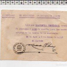 Monedas locales: 23.128 VALE GUERRA CIVIL, IX DIVISIÓN, CUARTA BRIGADA DE ASALTO, 1938, SELLO Y FIRMA ORIGINAL. Lote 62056948