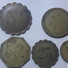 Monedas locales: LOTE ANTIGUAS FICHA CASINO 5 Y 1 PESETAS Y 50 , 25 Y 5 CENTIMOS, AÑOS 30. Lote 63890298