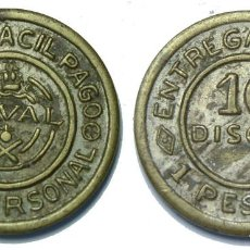 Monedas locales: FICHA TOKEN JETON **NAVAL** 10 DISCOS /1 PESETA. Lote 64323435