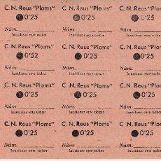 Monedas locales: HOJA COMPLETA DE 20 CUPONES C.N.REUS PLOMS DE 0,25 CÉNTIMOS. Lote 67721141