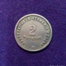 Monedas locales: FICHA ORIGINAL DE BARCELONA DE COOPERATIVA LA ECONOMIA OBRERA. 2 PESETAS.. Lote 68718797
