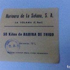 Monedas locales: VALE DE 50 KILOS DE HARINA DE TRIGO HARINERA DE LA SOLANA, S.A. EXTRACCION DEL 72%. Lote 81809274