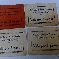 Monedas locales - VALES DE PAN LOTE DE 4 UDS. ANTONIO SOLANA SANCHEZ CHILLON CIUDAD REAL CON SELLO POR DETRAS - 68940505