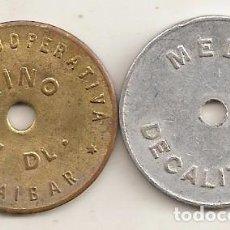Monedas locales: COOPERATIVA DE AIBAR (NAVARRA). 2 FICHAS. Lote 195205023