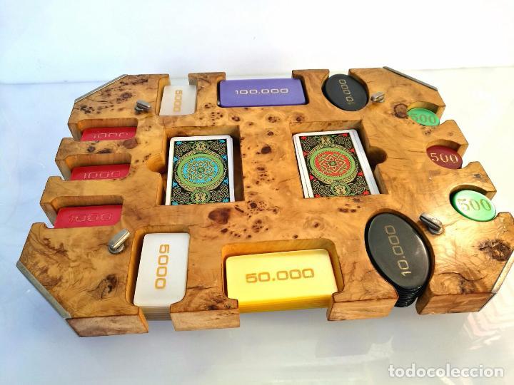 Monedas locales: Espectacular maleta original de casino mas fichas - Raiz de nogal - Pareja de barajas KEM - Foto 2 - 72792595