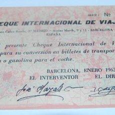 Monedas locales: CHEQUE INTERNACIONAL DE VIAJE 2 KM. 1962. Lote 73409767