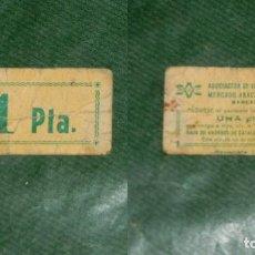 Monedas locales: VALE ASOCIACION VENDEDORES MERCADO ABACERIA CENTRAL GRACIA - BARCELONA. - ESCASEZ DEL 1977. Lote 74318339