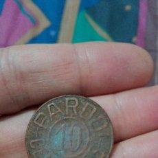 Monedas locales: FICHA-MONEDA NECESIDAD DE 10 CTMOS. CONSERVAS ÁNGEL PARODI. ISLA CRISTINA HUELVA . Lote 77895893