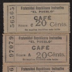 Monedas locales: FRATERNIDAD REPUBLICANA INSTRUCTIVA EL PUEBLO -BARCELONA - 3 VALES 20 CTMS. DE CAFÉ . Lote 80574234
