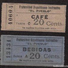 Monedas locales: FRATERNIDAD REPUBLICANA INSTRUCTIVA EL PUEBLO -BARCELONA - VALE CAFÉ 20 CTMS. BEBIDAS 20 CTMS.. Lote 80595850