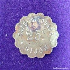 Monedas locales: ANTIGUA FICHA DEL CAFE DINDURRA GIJON. ASTURIAS. 25 CENTIMOS. LATON. CHAPA LOBULADA.. Lote 80633442