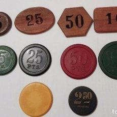 Monedas locales: LOTE DE DIEZ ANTIGUAS FICHAS DE CASINO. A CLASIFICAR. LAS DE LA FOTO.. Lote 80731050