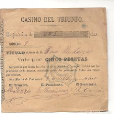 Monedas locales: AJ6.CASINO DEL TRIUNFO (SAN MARTIN DE PROVENSALS).1880.VALE 5 PESETAS. Lote 83281664