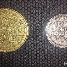 Monedas locales: JUEGO DE 2 MEDALLAS FICHAS-JETONES DE TEMA MASTER NACIONAL DE MUS. Lote 86488996
