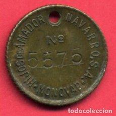 Monedas locales: MONEDA FICHA COMERCIAL, HIJOS AMADOR NAVARRO, MONOVAR ALICANTE , MBC , ORIGINAL , A10. Lote 85056536