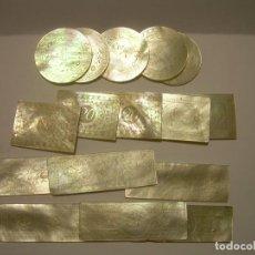 Monedas locales: ANTIGUAS FICHAS DE CASINO DE NACAR TALLADAS A MANO....SIGLO XIX.. Lote 85757392