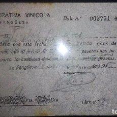 Monedas locales: VALE COOPERATIVA VINICOLA SANGÜESA-EN VINO TINTO-BODEGA (NAVARRA) AÑO 1945. Lote 86073372