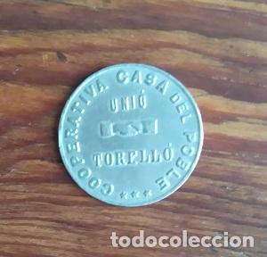 Monedas locales: RARA FICHA DE 1 PESETA DE LA COOPERATIVA CASA DEL POBLE UNIO TORELLO BARCELONA GUERRA CIVIL - Foto 2 - 87086592