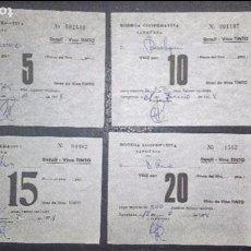 Monedas locales: JUEGO VALES COOPERATIVA SANGÜESA 5-10-15-20 LITROS DETALL-VINO TINTO BODEGA COOP. SANGÜESA (NAVARRA). Lote 86645260