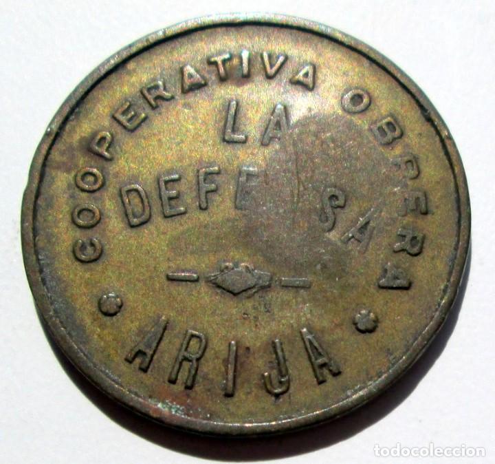 ARIJA - COOPERATIVA LA DEFENSA - 5 C. - RARA (Numismática - España Modernas y Contemporáneas - Locales y Fichas Dinerarias y Comerciales)
