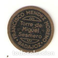 Monedas locales: FICHA VALE 1 PAN. FRANCISCO MENDEZ MORENO, TORRE DE MIGUEL SESMERO, BADAJOZ. Lote 90038032