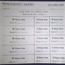 Monedas locales: UCAR-ENERIZ-ADIOS-(NAVARRA)15 VALE5-DE 5-10LITROS-SIN CORTAR-(TOTAL 100)BODEGA COPERATIVA SAN ISIDRO. Lote 90069240