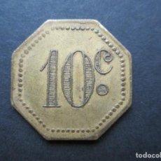 Monedas locales: FICHA OCTOGONAL DE 10 CENTIMOS DE LATÓN. Lote 90372740